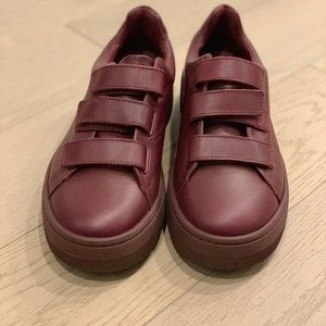 Never worn Sandro sneakers in burgundy